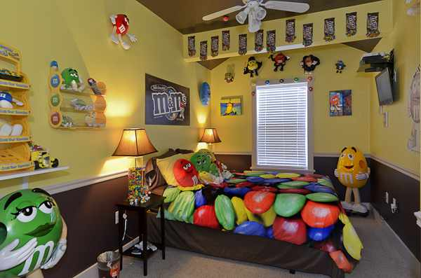 M&M candy themed bedroom at The Sweet Escape luxury vacation home rental outside of Orlando