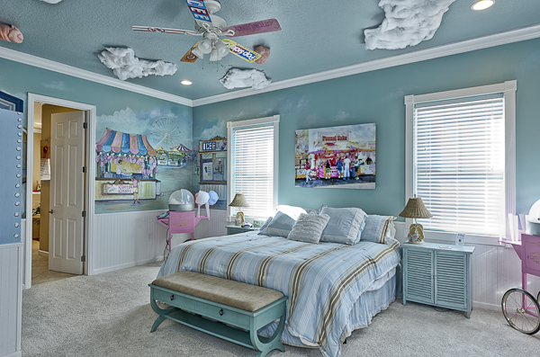 Carnival games themed bedroom at The Sweet Escape luxury vacation home rental outside of Orlando, Florida