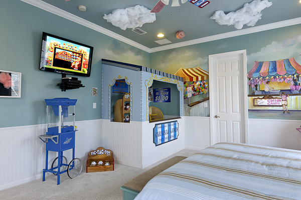 Cotton candy machines and more at The Sweet Escape vacation home rental's Carnival Treats Suite!