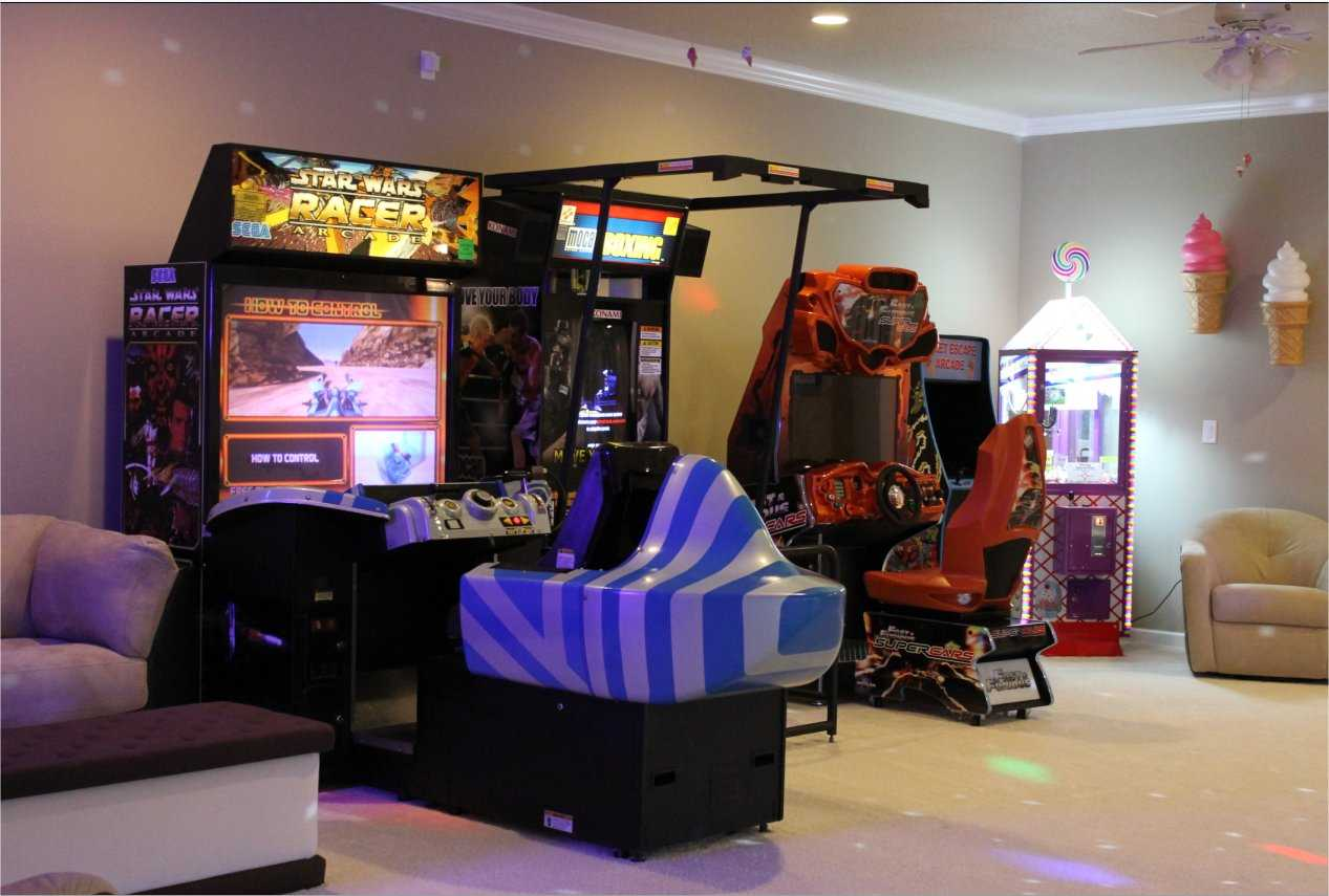 Video game arcade at The Sweet Escape vacation home rental near Orlando, Florida
