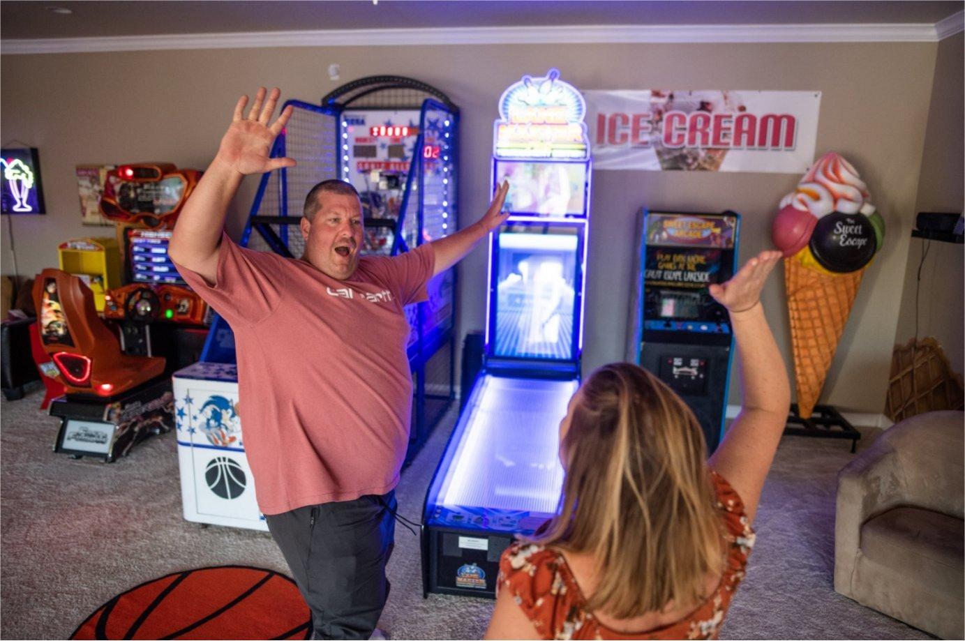 Video game arcade at The Sweet Escape vacation home rental near Orlando, Florida