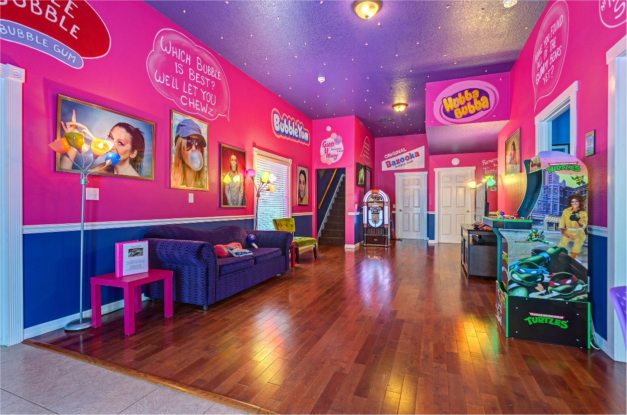 Sweet Escape House's Bubble Gum Lounge Arcade near Orlando, Florida & Disney World