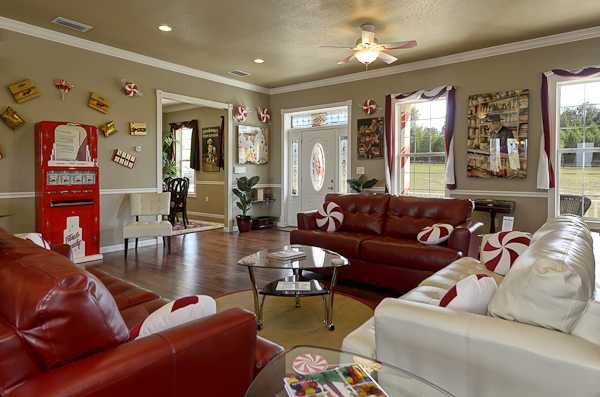 Candy Themed Living Room at The Sweet Escape
