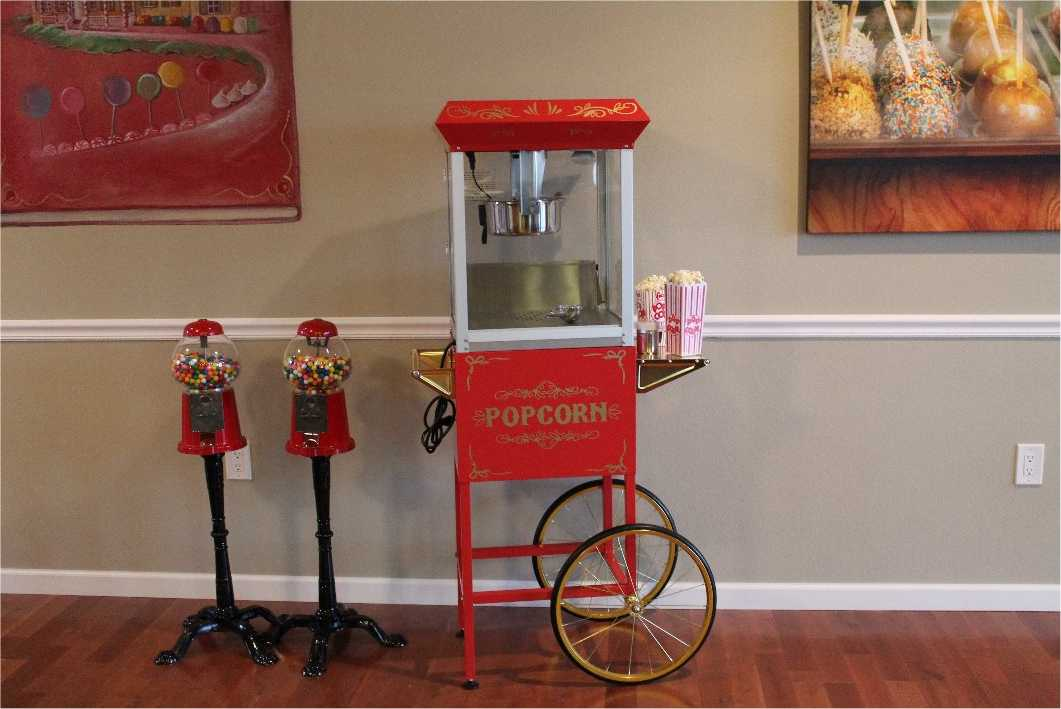 Popcorn Machine Cart in The Sweet Escape's Vintage Candy Themed Living Room