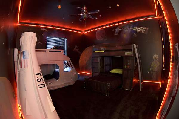 Laser tag at home in the Milky Way Bar Galaxy Room at Sweet Escape in the greater Orlando, Florida area