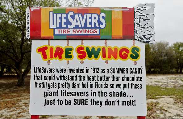 Lifesavers Candy tire swings at The Sweet Escape vacation rental